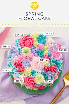 Create a literal bouquet of buttercream flowers with this Spring Floral Cake. Using very simple piping techniques, like rosettes, dots, stars and more, this cake is blossoming with bright spring colors. Cake Decorating Piping, Cake Decorating Videos, Cake Decorating Techniques, Cookie Decorating, Simple Cake Decorating, Cake Piping Techniques, Cake Decorating Designs, Pretty Cakes, Beautiful Cakes