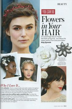Hair Comes the Bride in InStyle Magazine - You Can Do Flowers in Your Hair article.