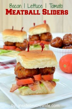 BLT Meatball Sliders - these easy meatball sandwiches are perfect for eating while watching the game http://www.insidebrucrewlife.com