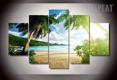 Palm Trees At The Beach - 5 Piece Canvas Painting