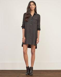 Womens Check Shirt Dress   Womens Dresses & Rompers   Abercrombie.com