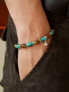 Men's Natural Turquoise & Golden Tiger Eye 8mm Olive Beads Stretch Bracelet, Sterling Silver Charm, Karen Hill Tribe Silver by WaterLilyProducts, $29.00