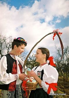 Traditional dresses, nowadays only seen in some of the villages throughout Slovakia (Easter) Native Country, Big Country, Happy National Day, Easter Monday, Heart Of Europe, Easter Traditions, Thinking Day, Easter Activities, Easter Celebration