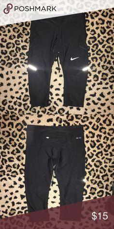 "Nike crop workout leggings Nike cropped workout leggings. Drawstring waist ann back zip pocket. 24"" length from waistline. Size small Nike can fit up to a medium Nike Pants Leggings"