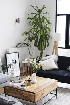 Amazing Scandinavian Living Room Ideas For Sweet Home Design 4014 Home Living Room, Living Room Designs, Living Room Decor, Living Spaces, Living Area, Plants In Living Room, Bedroom Decor, Bedroom Designs, Bedroom Ideas