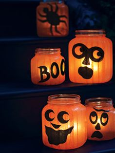 Craft How-to: Pumpkin Jar Lights Create a quirky patch of pumpkins using round glass holders, tissue paper and black construction paper.Create a quirky patch of pumpkins using round glass holders, tissue paper and black construction paper. Spooky Halloween Crafts, Homemade Halloween, Holidays Halloween, Halloween Decorations, Halloween Jars, Paper Halloween, Halloween Stuff, Halloween Lanterns, Haunted Halloween