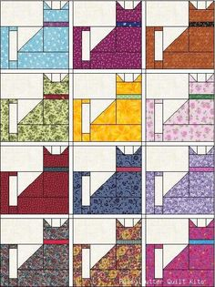 Easy Cat Quilt Patterns | Kitty Cat Cats Pattern Calico Grab Bag of Fabric Pre-Cut Quilt Blocks ...