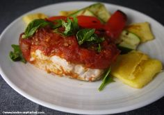 Baked cod with tomato and basil for the 5-2 diet