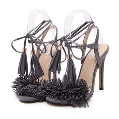 Stiletto Heel Fringed Strap Peep Toe Sandals Shoes