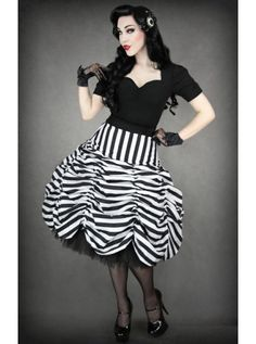 Circus Black & White Stripes Cabaret | SKIRT