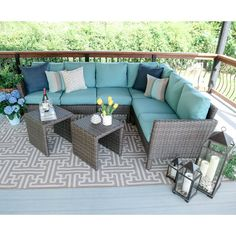 Cozy and modern, the Canton 6 Piece Wicker Corner Sectional Seating Group with Cushion gives you the extra seating to make your outdoor space an entertainment destination. Separate the modular side tables as desired, or slide together for a functional coffee table. The durable steel frame is wrapped in dark brown hand-woven outdoor wicker. Cushions are covered in 100% outdoor olefin fabric, constructed with a soft top layer wrapped around a high density foam core. They sit comfortably and…