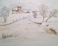 Winterlandschap aquarel kerst 2013