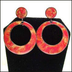 Funky Vintage Earrings Red Sunset Enamel Hoops 1960s Jewelry $28