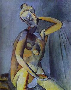 Pablo Picasso, Nude, 1909.  Saint-Petersbourg,  Musée de l'Ermitage. Sometimes reconstruction looks like a Picasso...
