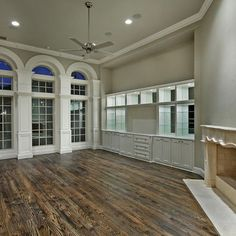 """Northcrest  #1 red oak floor: The floors are 3 1/4"""" nail down oak floors. They have a light scrape, with the grain, and I believe they were finished with antique brown and a hint of ebony."""