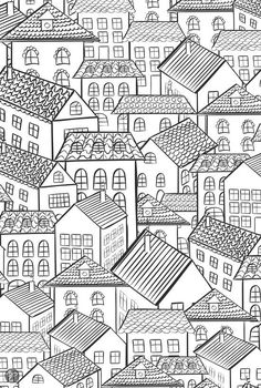 Houses, Coloring for adults