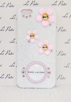 pink and white designer inspired Bling Case Phone Cover by LePatri