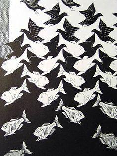 Escher - no me gustan tanto sus escaleras, como me gustan sus metamorfosis