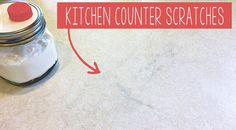 "Kitchen counter scratches are one of the most annoying thing for a women who loves cleaning. Unfortunately, it's almost impossible to remove scratches from laminate with a highlighted ""almost"" beca. House Cleaning Tips, Deep Cleaning, Spring Cleaning, Cleaning Hacks, Cleaning Products, Laminate Countertops, Kitchen Countertops, Clean Baking Pans, Cleaning Painted Walls"