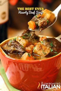Hearty Beef Soup #comfortfood #recipe #beefsoup @slowroasted