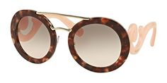 Prada SPR - Spotted Brown Pink & Pink Gradient Sunglasses for Womens - 54 x 25 x 135 mm, Size: Global Geofit; Prada Sunglasses, Round Sunglasses, Sunglasses Women, Brown Spots, Pink Grey, Eyewear, Eye Candy, Gold, Accessories