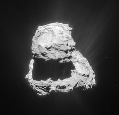 Europe's Philae Lander Still Silent on Comet - This image, taken by Europe's Rosetta spacecraft, shows Comet 67P/Churyumov–Gerasimenko. The Philae lander (located somewhere on the surface of the comet) has been silent since its landing in November 2014. Credit: ESA/Rosetta/NavCam