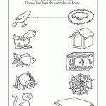 In this early writing worksheet, your child will draw straight lines across the page to connect each animal to the right home.