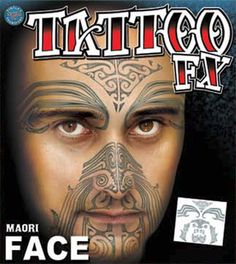 Maori Full Face Temporary Tattoo