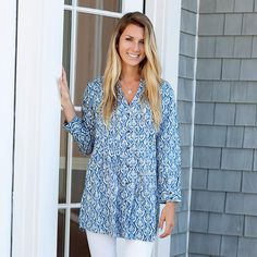 Rayon Tunic for Women - Blue & White Pintuck — MUSEUM OUTLETS
