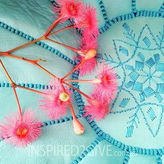 Inspired 2 Give Moroccan Ottoman - gorgeous turquoise with gum tree flower