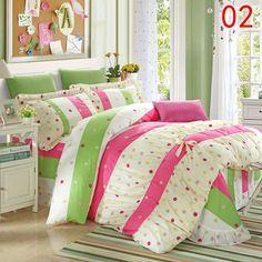YADIDI 100% Cotton Classic Princess Polka Dot Girls Bedding Sets Bedroom Bed Sheet Duvet Cover Pillowcase Twin Queen King size