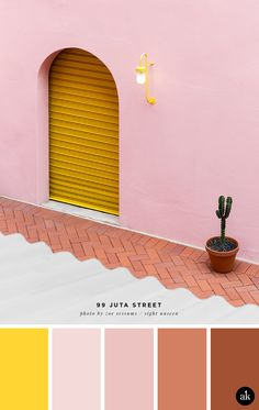 a pink and yellow color palette // yellow, pink, terra cotta // 99 Juta Street photographed by Zoe Sessums palette yellow a pink-and-yellow-facade-inspired color palette — Akula Kreative Pink Color Schemes, Colour Pallette, Pink Palette, Color Combos, Yellow Color Palettes, Adobe Color Palette, Color Yellow, Pink Yellow, Pantone Color
