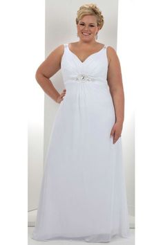 Affordable A Line V Neck Beaded Floor Length Chiffon Plus Size Wedding Dress USD 169.39 EPPTMXYSAJ - ElleProm.com