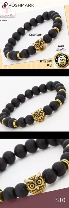 Fashion Owl ENERGY Stone Jewelry Bracelet Beads 100% SATISFY 100% TOP SERVICE     Features:  Brand New  Color: gold/black  Material:Alloy+Stone/crystal  Length: about 19-20cm  Package Included:   1pcs x Bracelet+free choker! 💓💓💓 Accessories Jewelry