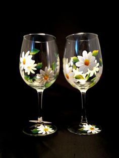 Daisy Wine Glasses Painted by Brusheswithaview on Etsy, $30.00