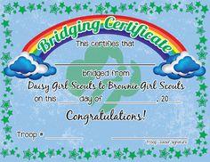 Free Girl Scout Printable Bridging Certificates!