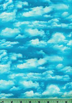 Fabric #1919 Blue Sky with White Clouds, Elizabeth's Studio, Sold by 1/2 Yard #ElizabethsStudio