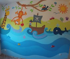 Mural infantil animales decopared 652573219 Room Wall Painting, Mural Wall Art, Art Wall Kids, Kids Room Murals, Murals For Kids, Art For Kids, Church Nursery Decor, Baby Room Decor, Princess Mural