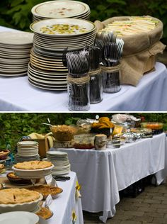 These beautiful stoneware plates looks amazing at this outdoor event!!