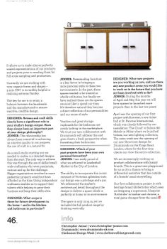 Christopher Jenner talks to Designer magazine about his recent collaborations with luxury bathroom manufacturers Drummonds, including two new London showrooms and a collection of freestanding bathroom furniture drummonds-uk.com Designer Kitchen & Bathroom May 2014