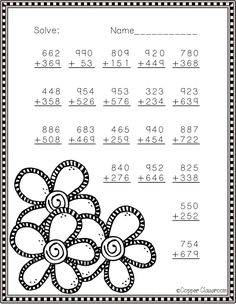 Need extra addition practice? These ten pages focus on three digit addition. Most problems require regrouping. No prep, just print and go. There is an answer key included. Math Practice Worksheets, Homeschool Worksheets, Second Grade Math, 4th Grade Math, Math Multiplication Games, Math Exercises, Alphabet Code, Math Sheets, Math Practices