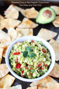 Roasted Corn and Red Pepper Guacamole Recipe on twopeasandtheirpod.com. The perfect summer guacamole! #avocado #summer
