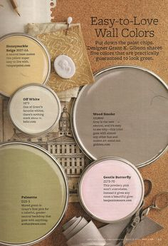 Easy-to-love wall colors from Better Homes and Gardens: Gentle Butterfly, Palmetto, Wood Smoke, Honeysuckle Beige, and Off White.