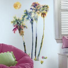 New Large WATERCOLOR PALM TREES WALL DECALS Tropical Decor Peel & Stick Stickers in Home & Garden, Home Décor, Decals, Stickers & Vinyl Art | eBay