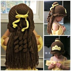 Princess Belle wig/hat Princess Belle inspired crochet beanie hat/wig Bir önceki yazımız olan This is an easy to knit hat, worked with soft fingering weight yarn that is quic. Crochet Kids Hats, Crochet Beanie Hat, Crochet Crafts, Crochet Clothes, Crochet Baby, Knit Crochet, Crochet Princess Hat, Sewing Clothes, Crochet Wigs