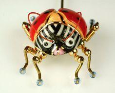 Lucky LadyBug!// CYNTHIA CHUANG LADYBUG Theme Pin ERH-PING TSAI Jewelry 10 Porcelain Stamped.