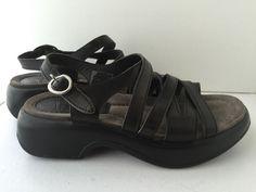 Dansko Black Leather Adjustable Buckle Strap Wedge Platform Sandals Sz 6.5 EU 37 #Dansko #Slingbacks #Casual