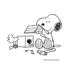 Snoopy builds his friend, Woodstock, a Birdhouse.