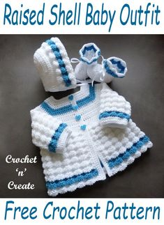 Crochet Raised Shell Baby Outfit - This beautiful baby pattern is designed to fit a baby, it is crocheted in a light worsted (DK) yarn but the . Crochet Baby Sweater Pattern, Crochet Baby Sweaters, Baby Sweater Patterns, Crochet Baby Clothes, Baby Patterns, Stitch Patterns, Knitting Patterns, Crochet Patterns, Crochet Stitches