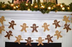 This Gingerbread Man Paper Garland is made from dark brown and medium brown card stock which is sewn together with sturdy thread. This garland